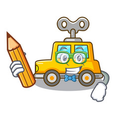 Student cartoon clockwork toy car in table vector