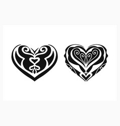 Stylize heart icon set isolated on white vector