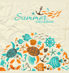 Summer vacation wrinkled paper background vector
