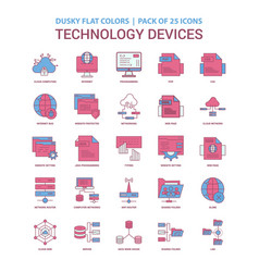 Technology device icon dusky flat color - vintage vector