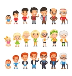 Three Characters Aging Set vector image