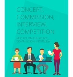 Three people at the table interviewing woman vector image