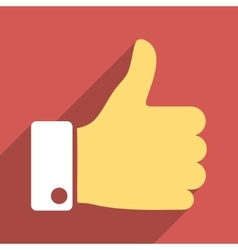 Thumb Up Flat Longshadow Square Icon vector