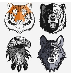 Tiger Eagle Wolf Bear logo set vector