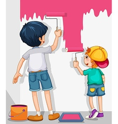 Two boys painting the wall in pink vector