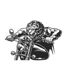 Vintage ferocious bear head motorcyclist vector