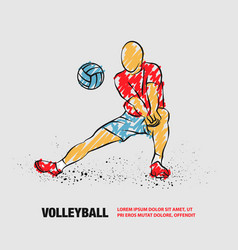 Volleyball player plays volleyball outline vector