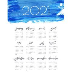 Watercolor ink calendar template 2021 year vector