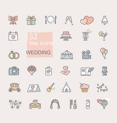 Wedding icon set line colored symbols vector