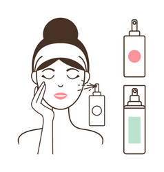 Woman applies micellar water with spray bottle vector