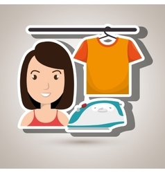 Woman cartoon ironing hang tshirt vector