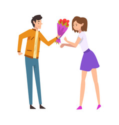young man giving bouquet flowers to happy girl vector image