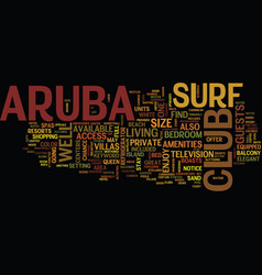 Aruba surf club text background word cloud concept vector