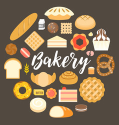 bakery headline and bakery products vector image vector image