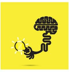 Brain icon and light bulb symbol vector image