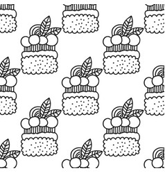 cakes and cupcakes black and white seamless vector image