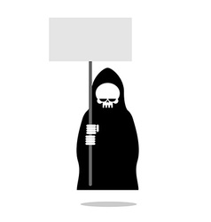 Death with an blank paper over head Grim Reaper in vector image vector image