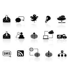 Internet social communications icon set vector image vector image