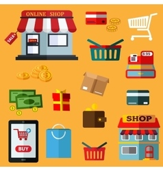 Shopping and retail flat icons vector image