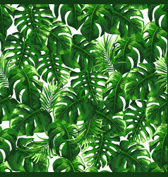 tropical seamless pattern with palm leaves vector image