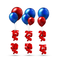 balloons and discounts on isolated background vector image vector image