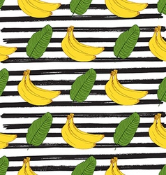 Banana hand drawn sketch striped Seamless Pattern vector image vector image