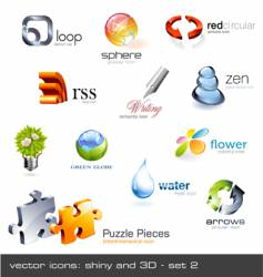 icons glossy and 3d vector image