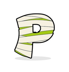 Letter P Mummy Typography icon in bandages vector image