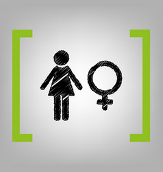 female sign black scribble vector image vector image