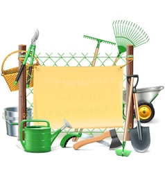Mesh Frame with Garden Tools vector image