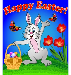 rabbit with Easter eggs vector image vector image