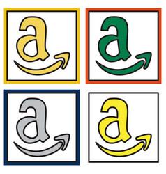 set of amazon online shop smile store icon vector image vector image