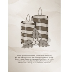 Vintage christmas card with candle and holly vector image vector image