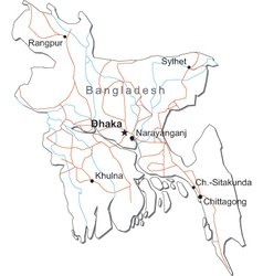 Bangladesh Black White Map vector image vector image