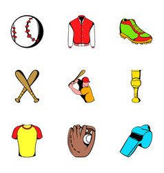 baseball icons set cartoon style vector image vector image
