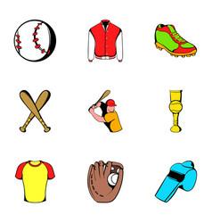 baseball icons set cartoon style vector image