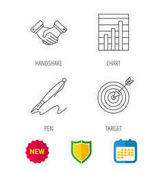 handshake graph charts and target icons vector image