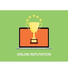 online reputation with laptop vector image vector image