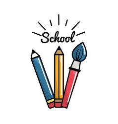 pencil case school tools icon vector image vector image