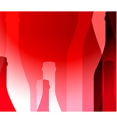 Red background with bottles vector image