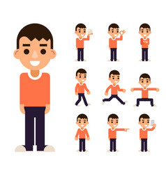 teen boy in different poses and actions characters vector image vector image