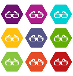 3d glasses icons set 9 vector image