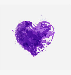 Abstract ultraviolet purple grunge heart on white vector