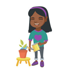 african girl watering plant with a watering can vector image