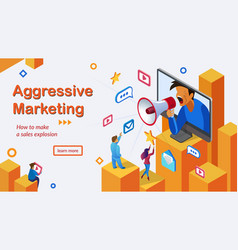 aggressive marketing services webpage vector image