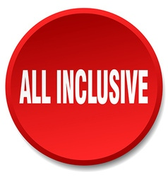 All inclusive red round flat isolated push button vector