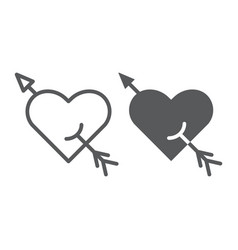 arrow and heart line and glyph icon romance and vector image
