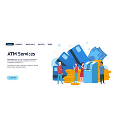 Atm landing page mobile banking and online vector