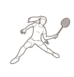 Badminton female player action with racket vector