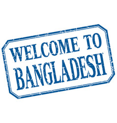 Bangladesh - welcome blue vintage isolated label vector